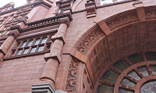 Detailed stonework on Sackville Street Building