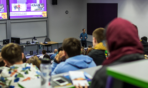 Students in a lecture in Renold Building